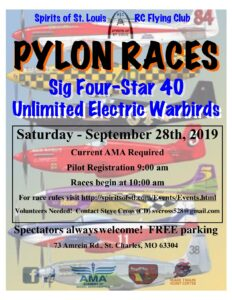 Pylon Racing: 4-Star 40 and Electric Warbirds @ Spirits / Bob Gizzie Field